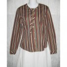 NWT Solitaire Shapely Striped Cotton Button Shirt Tunic Top Medium M