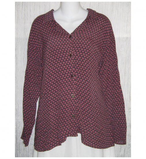 R-Clan by Jeanne Engelhart FLAX Rayon Hearts Button Shirt Tunic Top Medium M