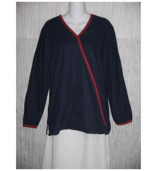 Jeanne Engelhart FLAX Cotton Diagonal Pocket Shirt Tunic Top Small S