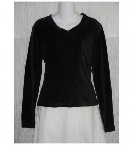 FLAX by Jeanne Engelhart Black Velor Tunic Top Shirt MEDIUM M