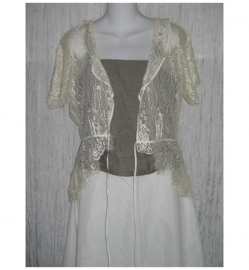 The Limited Shapely Ivory Lace Tied Front Jacket Large L