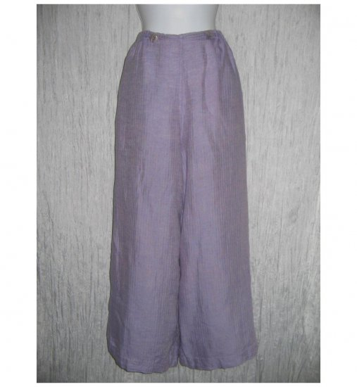FLAX by Jeanne Engelhart Purple LINEN Sailoring Pants Wide Leg Floods Medium M