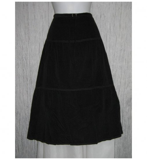 New Solitaire Black Featherwale Corduroy Shapely Skirt Large L
