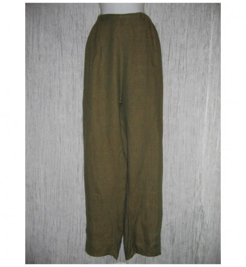 Jeanne Engelhart FLAX Earthy Green Linen Pants 2G