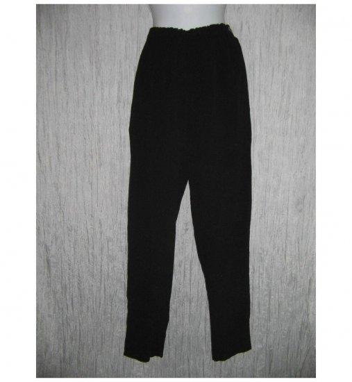 R-Clan Jeanne Engelhart FLAX Black Textured Rayon Pants Small S