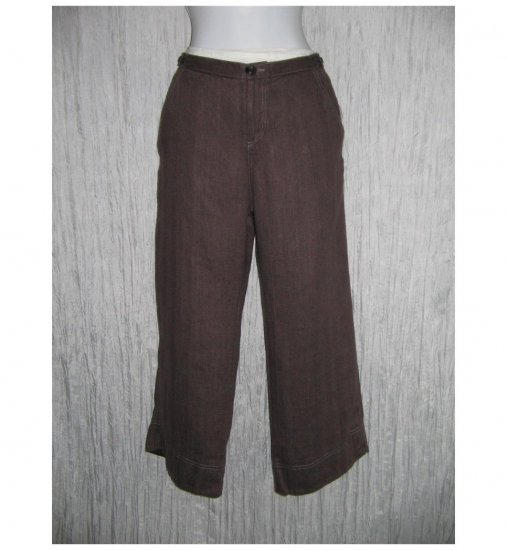 New Solitaire Brown Linen Trousers Pants Medium M
