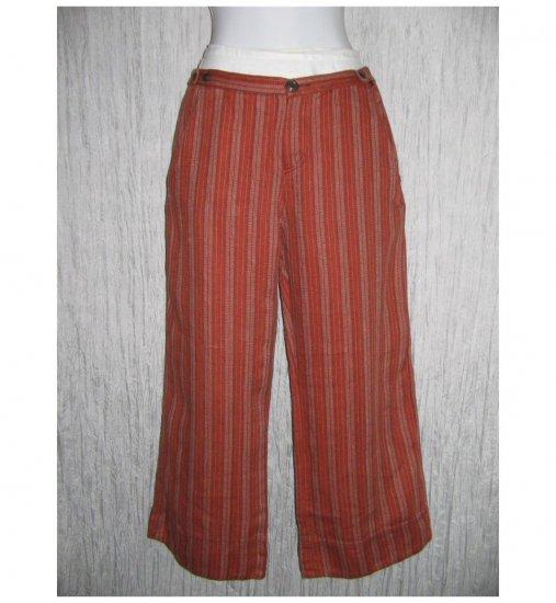 New Solitaire Terracotta Stripe Linen Pants Medium M