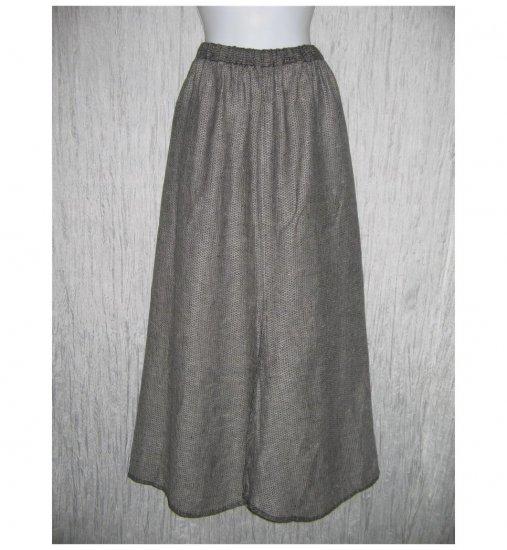 Flax by Jeanne Engelhart Gray Reversible Linen A-Line Long & Full Skirt Large L