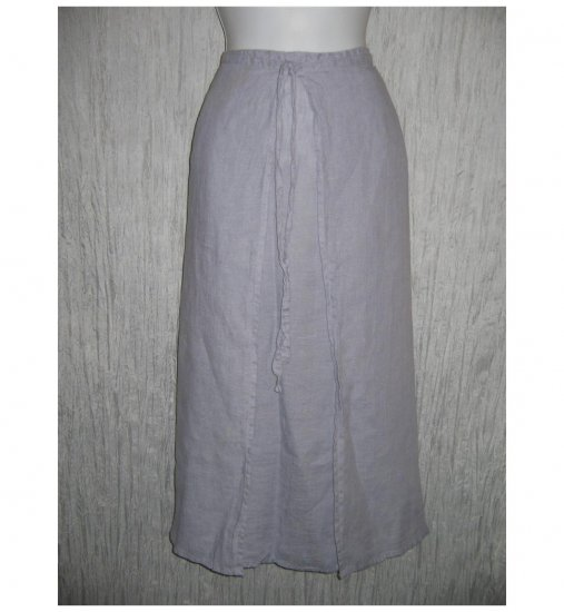 FLAX Blue Gray Linen A-Line Wrap Front Skirt Jeanne Engelhart 1G