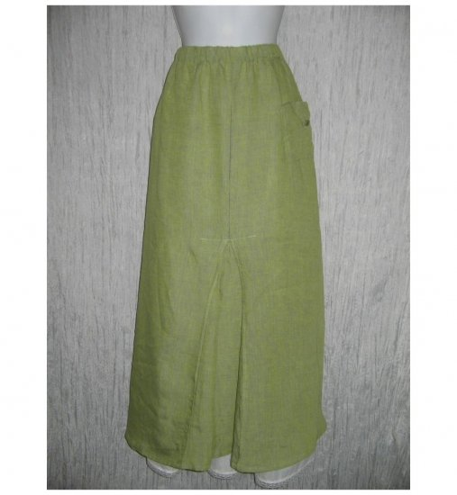 Flax by Jeanne Engelhart Green Linen Long & Full Skirt 3G