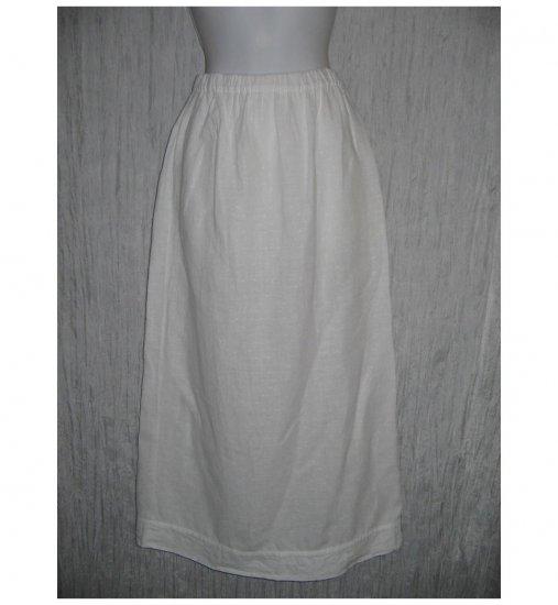FLAX Long White Linen Skirt Jeanne Engelhart Small S