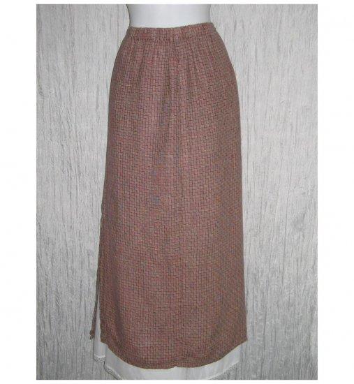 Flax by Jeanne Engelhart Brick Red Basket Linen Skirt Medium M