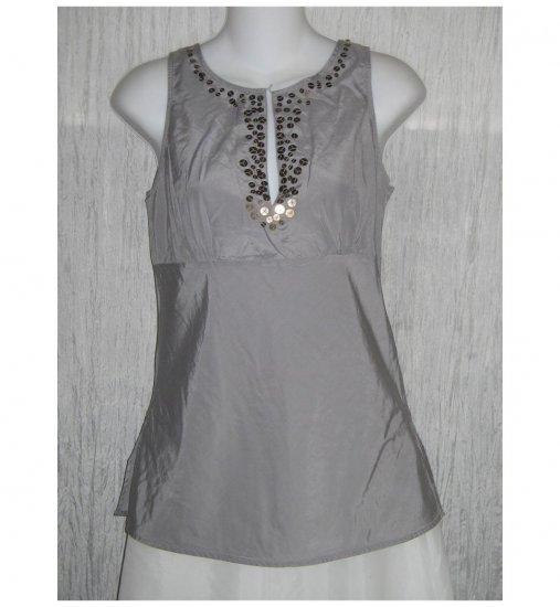 NWOT New York & Company Shapely Blue Gray Silk Sequin Tank Top Shirt 4