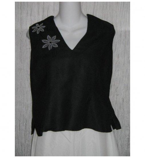 Dina K Black Embroidered Ramie Viscose Tank Top Shirt Large L