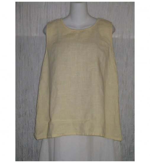 Aly Wear Long A-Line Yellow Linen Tank Top Shirt Small S