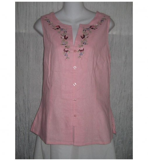 Jay Day Embroidered Pink Linen Rayon Tunic Top Shirt Large L