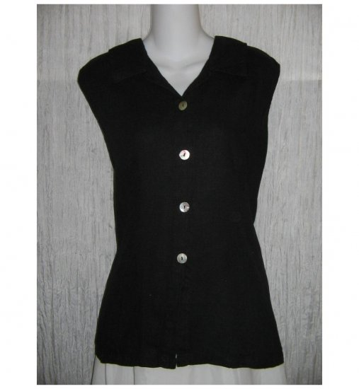 Match Point Black Linen Collared Tank Top Shirt X-Large XL