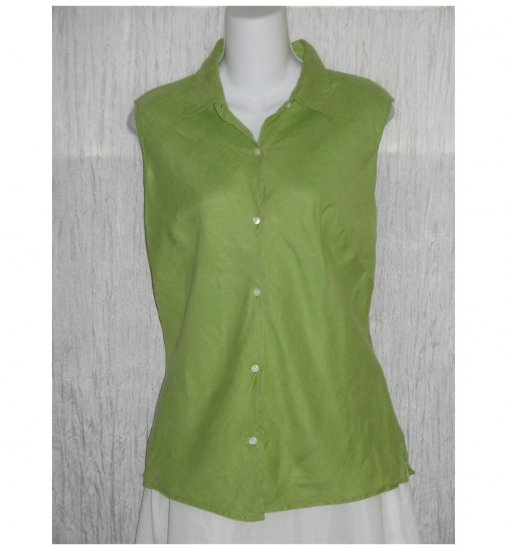 GAP Green Bias Cut Linen Collared Tank Top Shirt Small S