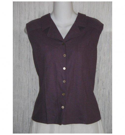 Anna and Frank Purple Silk Collared Tank Top Shirt X-Large XL
