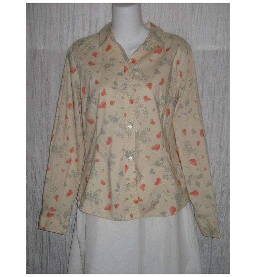 Gap Pale Floral Shapely Cotton Button Shirt Top Large L