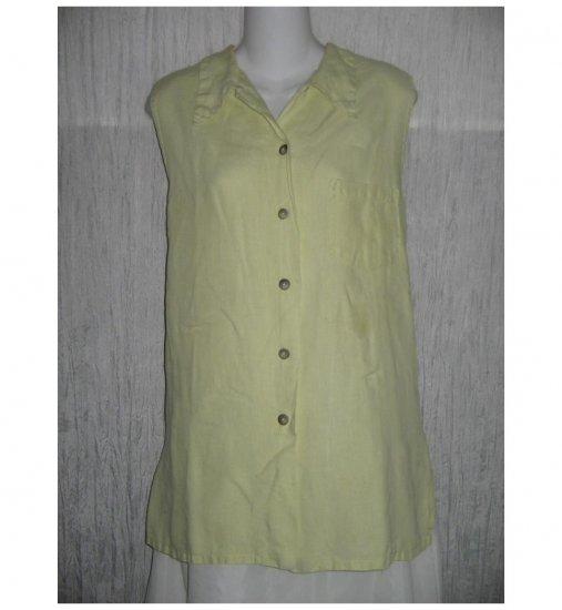 Bryn Walker Green Linen Collared Tank Top Shirt Large L