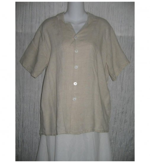 FLAX by Jeanne Engelhart Linen Button Shirt Tunic Top Small S
