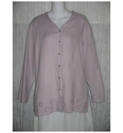 J. Jill Purple Linen Lace Tunic Top Button Shirt Medium M