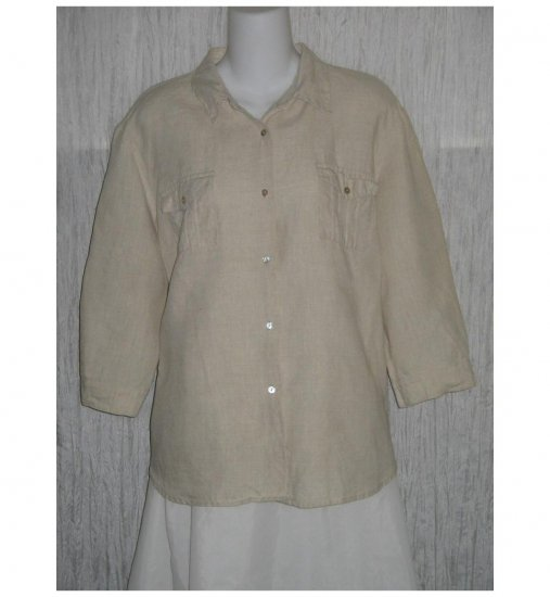 Edward Natural Irish Linen Button Shirt Tunic Top X-Large XL