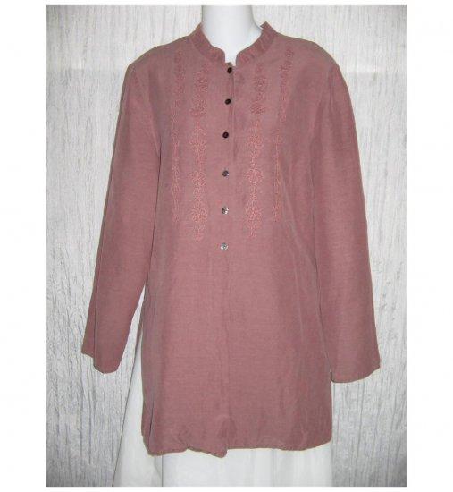 J. Jill Long Mauve Silk & Linen Tunic Top Button Shirt 6
