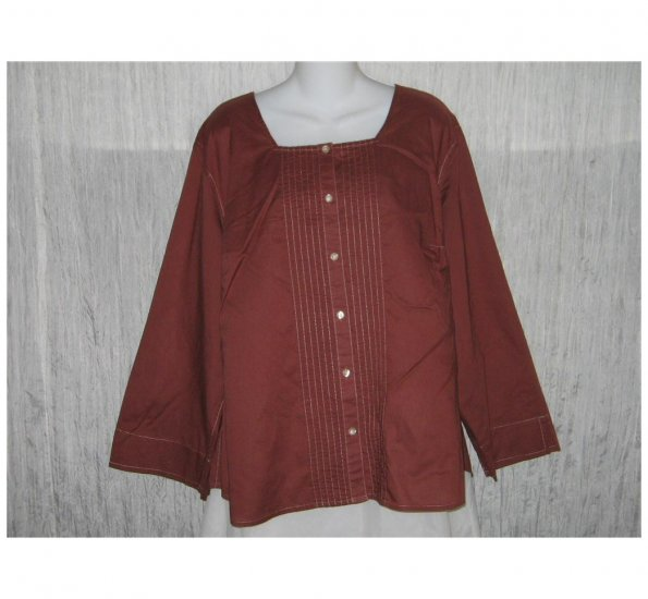 Liz Claiborn Woman Red Chestnut Cotton Button Shirt Tunic Top 20W