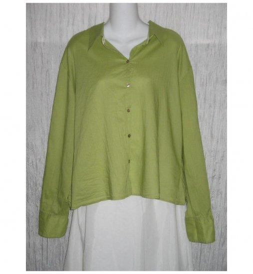 J. Jill Soft Green Cotton Loose Tunic Top Button Shirt Large L