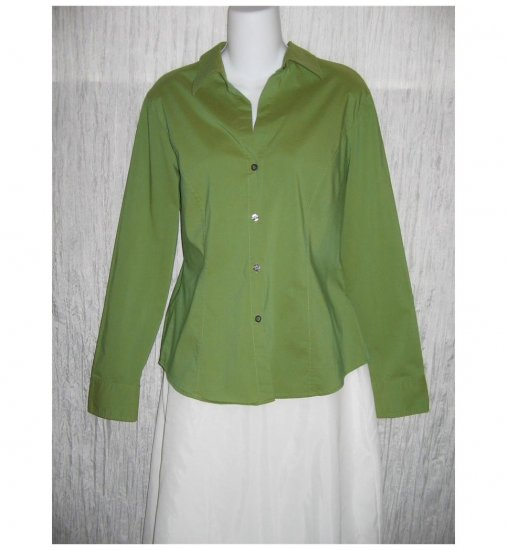 NEW YORK COMPANY Shapely Green Button Shirt Top Large L