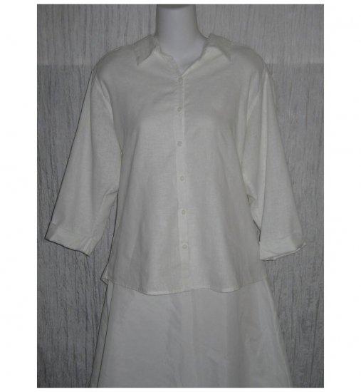 Christopher & Banks White Hemp & Cotton Button Shirt Tunic Top Large L