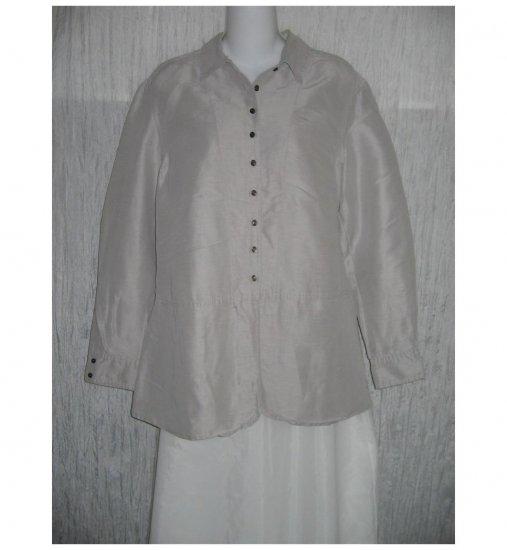 J. Jill Lavender Gray Silk & Linen Skirted Button Shirt Tunic Top Small S