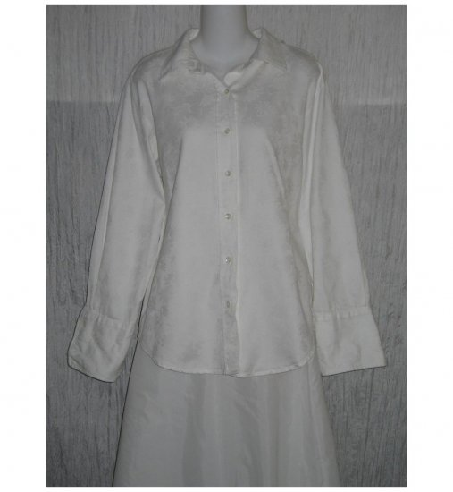 Whitewash Cotton Button Shirt Tunic Top Large L