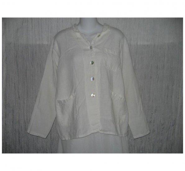 Match Point White Linen Button Jacket Top Small Medium S M