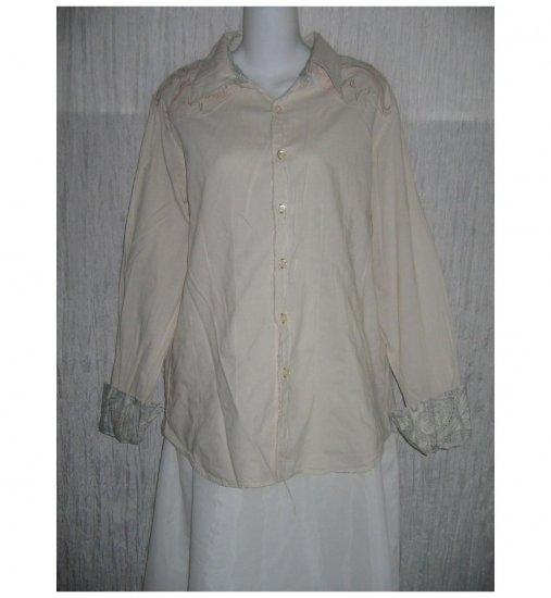 CARBON Beige Cotton Button Shirt Tunic Top Large L