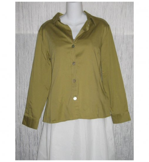 Chico's Green Cotton Button Shirt Tunic Top Size 2 M