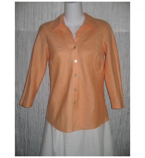 So Blue Sigrid Olsen Shapely Orange Linen Bias Button Shirt Tunic Top Petite P