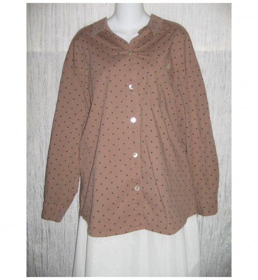 Willow Brown Dots Cotton Button Shirt Tunic Top X-Large XL