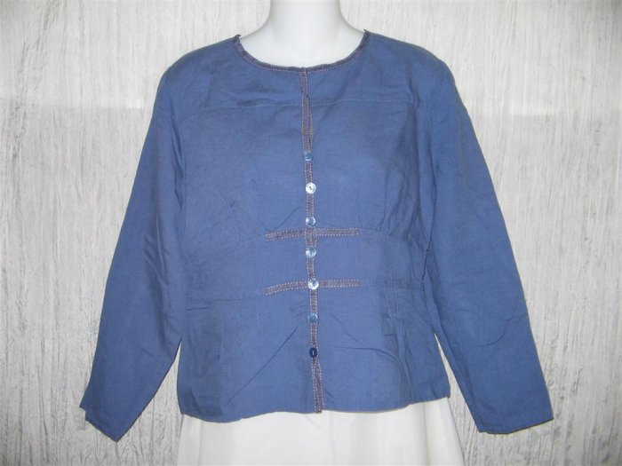 Christopher & Banks Shapely Blue Linen Button Shirt Tunic Top Small S