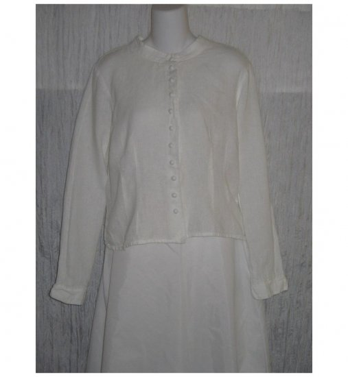 SOLITAIRE White Shapely Linen Button Shirt Top Large L