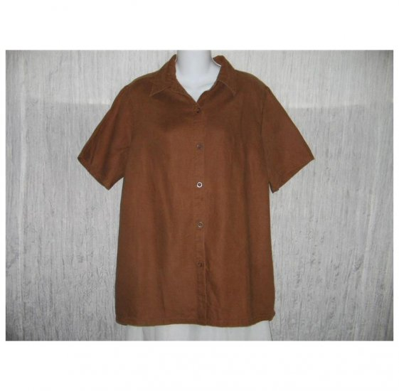 Bridgewater Brown Linen Button Shirt Tunic Top Large L