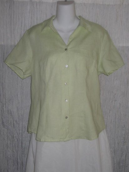 Richard Malcolm Green Irish Linen Button Shirt Top X-Large XL