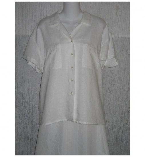 Tweeds White Linen Button Top X-Large XL