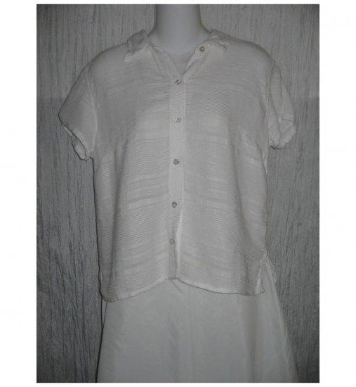 Fresh Produce White Linen & Rayon Button Shirt Top Large L