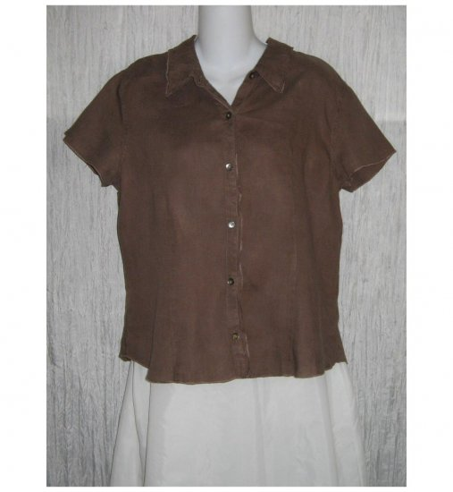 J. Jill Brown Linen Button Shirt Top Medium M