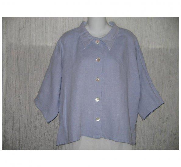 Alywear Blue Linen Button Shirt Tunic Top Large L