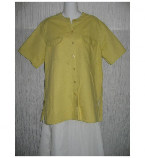 100% Avenue Green Linen & Cotton Button Shirt Tunic Top 14/16