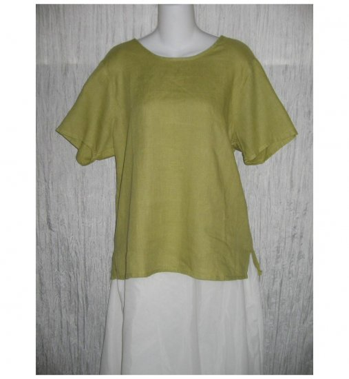 FLAX Green Linen Pullover Shirt Tunic Top Jeanne Engelhart Small S